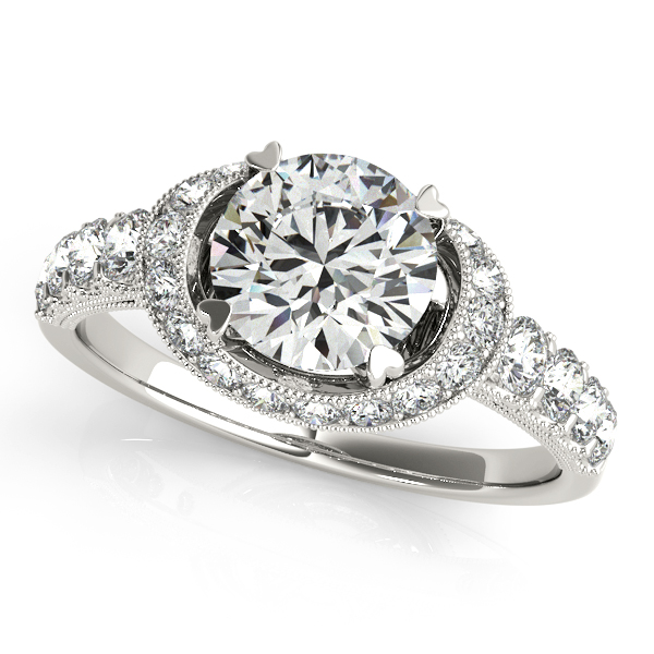 18K White Gold Round Halo Engagement Ring Trinity Jewelers  Pittsburgh, PA