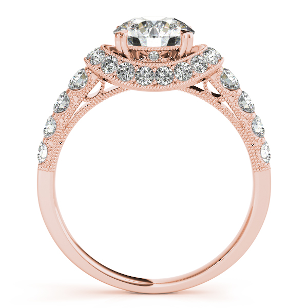14K Rose Gold Round Halo Engagement Ring Image 2 Trinity Jewelers  Pittsburgh, PA