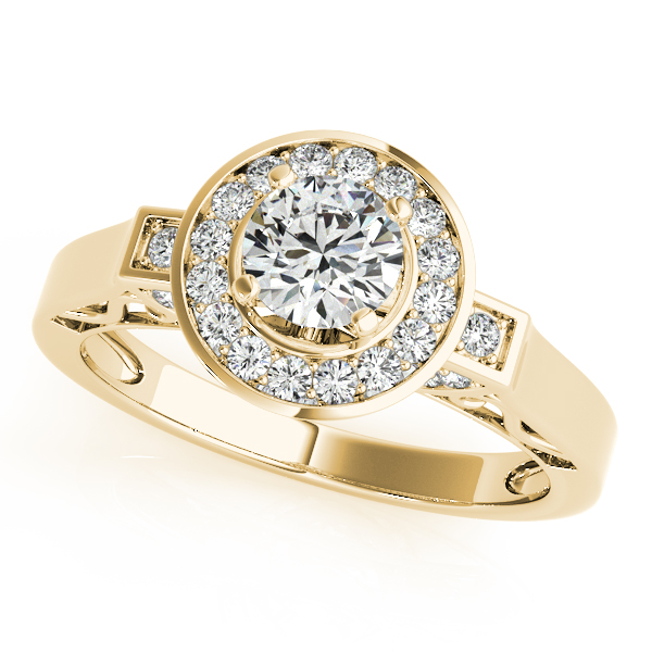 14K Yellow Gold Round Halo Engagement Ring Robert Irwin Jewelers Memphis, TN