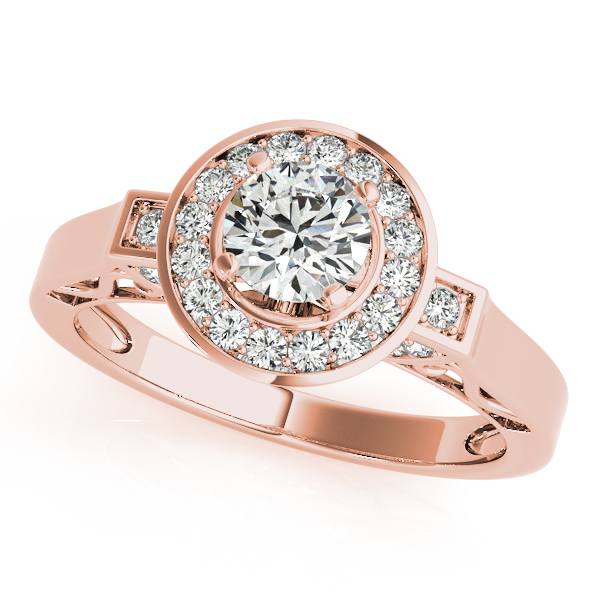 14K Rose Gold Round Halo Engagement Ring Champaign Jewelers Champaign, IL