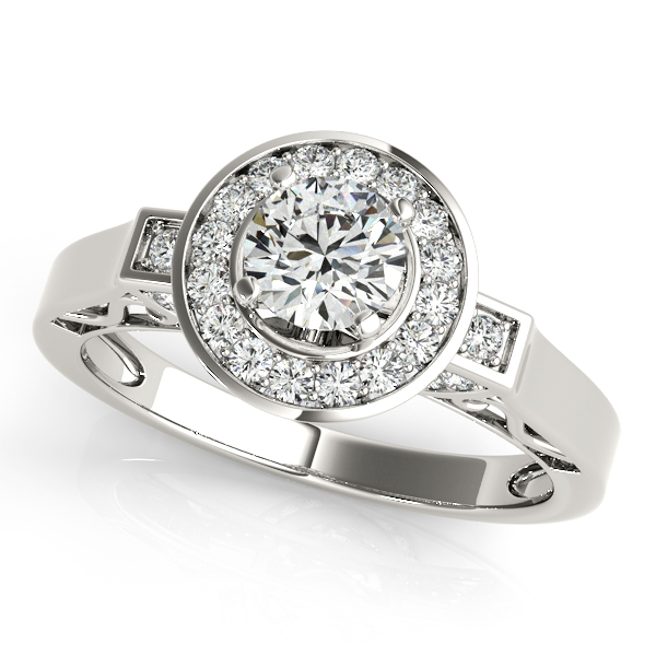 10K White Gold Round Halo Engagement Ring Graham Jewelers Wayzata, MN