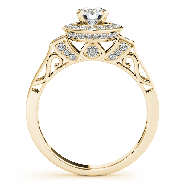 14K Yellow Gold Round Halo Engagement Ring Image 2 Bay Area Diamond Company Green Bay, WI