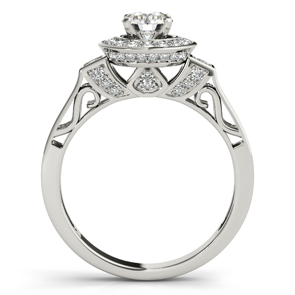 18K White Gold Round Halo Engagement Ring Image 2 Studio 2015 Woodstock, IL