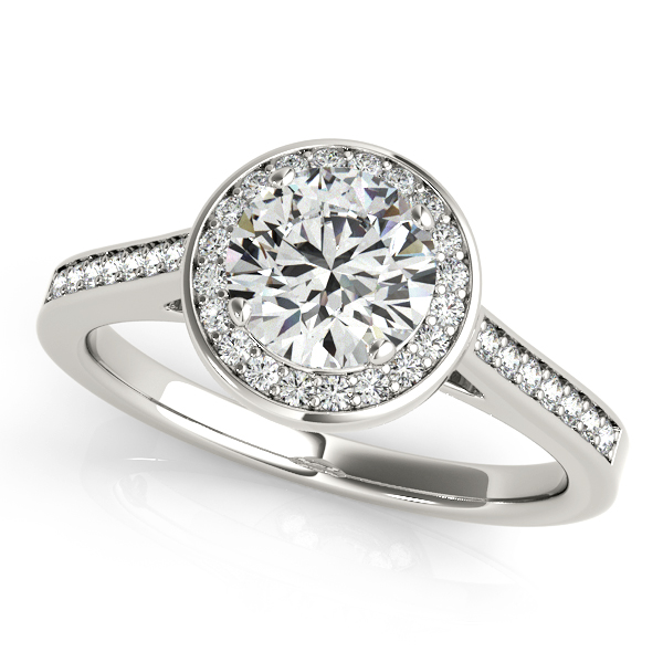 Semi-Mouts - 10K White Gold Round Halo Engagement Ring