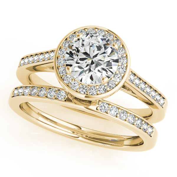 Semi-Mouts - 10K Yellow Gold Round Halo Engagement Ring - image #3