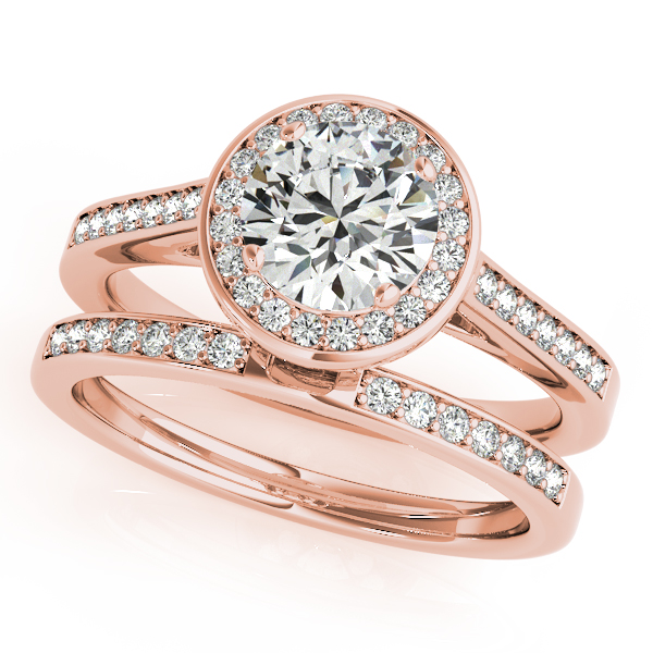 Semi-Mouts - 18K Rose Gold Round Halo Engagement Ring - image #3