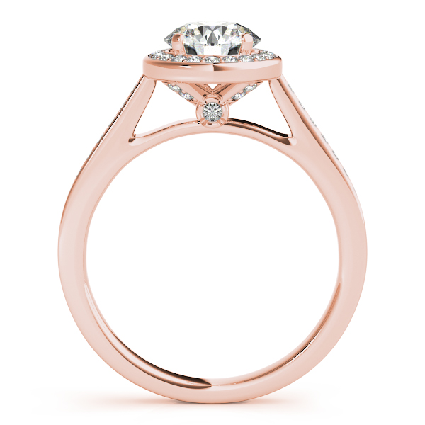 Semi-Mouts - 18K Rose Gold Round Halo Engagement Ring - image #2