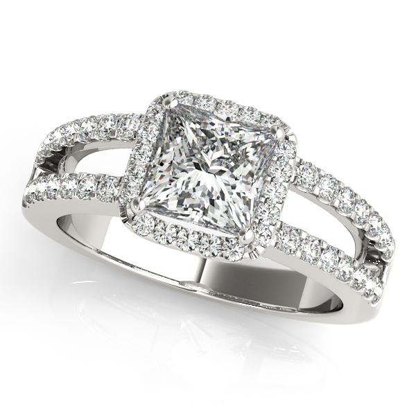 14K White Gold Halo Engagement Ring Designer Jewelers Westborough, MA