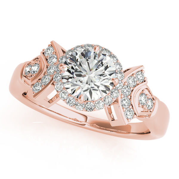 10K Rose Gold Round Halo Engagement Ring Bell Jewelers Murfreesboro, TN