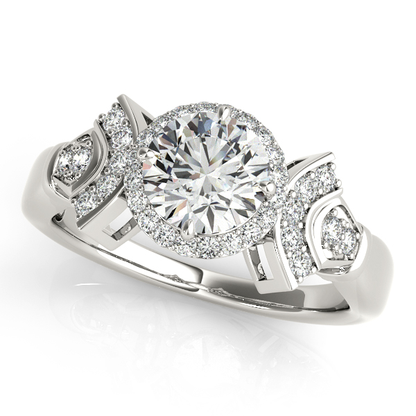 18K White Gold Round Halo Engagement Ring Enhancery Jewelers San Diego, CA