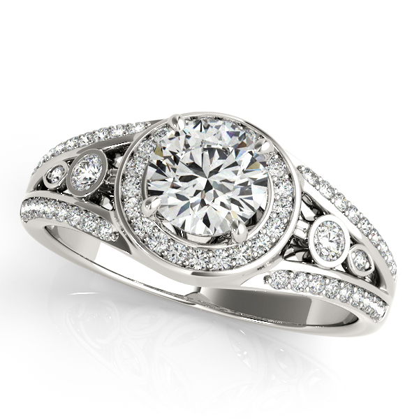 10K White Gold Round Halo Engagement Ring Kiefer Jewelers Lutz, FL