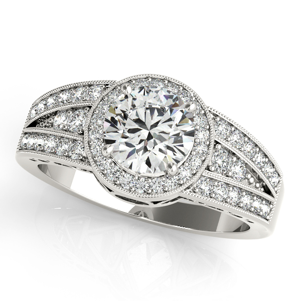 10K White Gold Round Halo Engagement Ring Enhancery Jewelers San Diego, CA