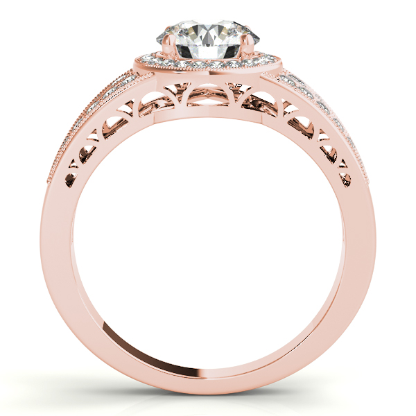 10K Rose Gold Round Halo Engagement Ring Image 2 Studio 2015 Woodstock, IL