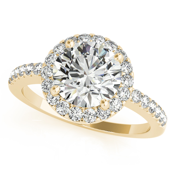 10K Yellow Gold Round Halo Engagement Ring Robert Irwin Jewelers Memphis, TN