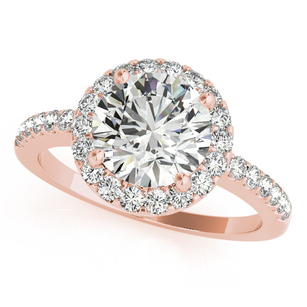 18K Rose Gold Round Halo Engagement Ring Parris Jewelers Hattiesburg, MS