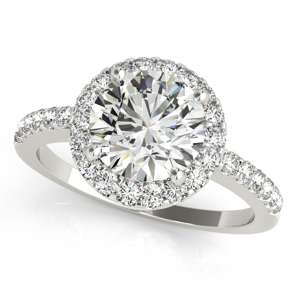 Platinum Round Halo Engagement Ring Enhancery Jewelers San Diego, CA