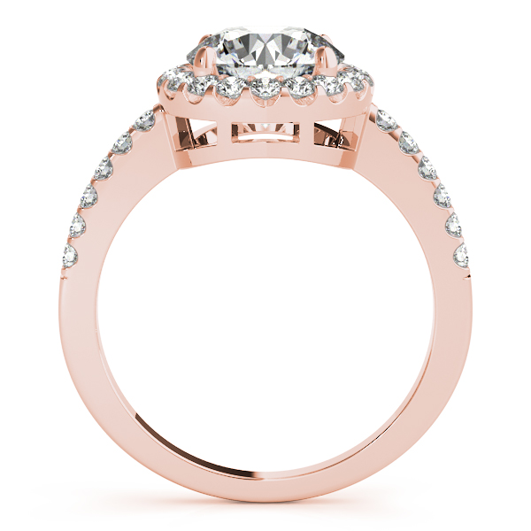 10K Rose Gold Round Halo Engagement Ring Image 2 Enhancery Jewelers San Diego, CA
