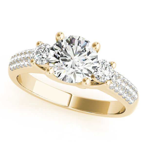 Semi-Mouts - 14K Yellow Gold Three-Stone Round Engagement Ring