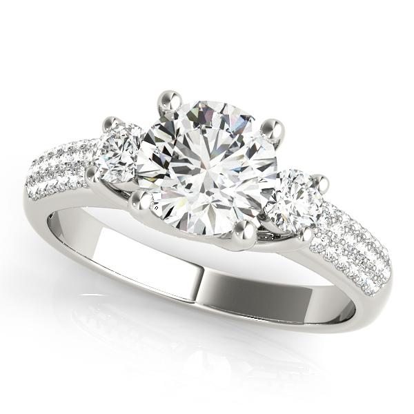 Engagement Rings - 18K White Gold Three-Stone Round Engagement Ring