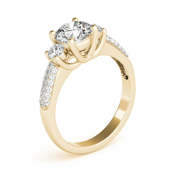 Semi-Mouts - 14K Yellow Gold Three-Stone Round Engagement Ring - image #3