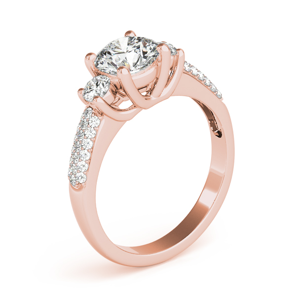 18K Rose Gold Three-Stone Round Engagement Ring Image 3 Bay Area Diamond Company Green Bay, WI