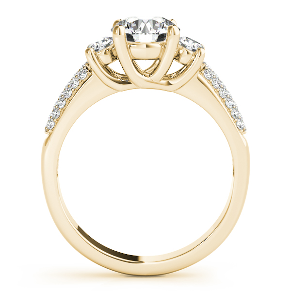 Semi-Mouts - 14K Yellow Gold Three-Stone Round Engagement Ring - image #2