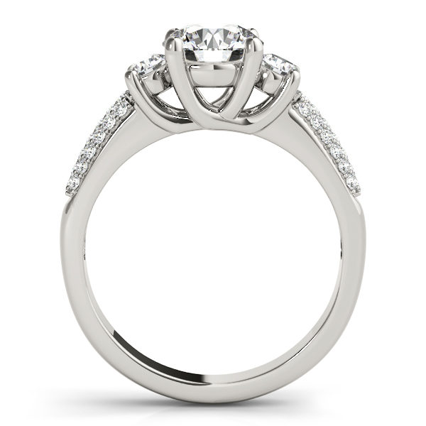 Engagement Rings - 18K White Gold Three-Stone Round Engagement Ring - image 2