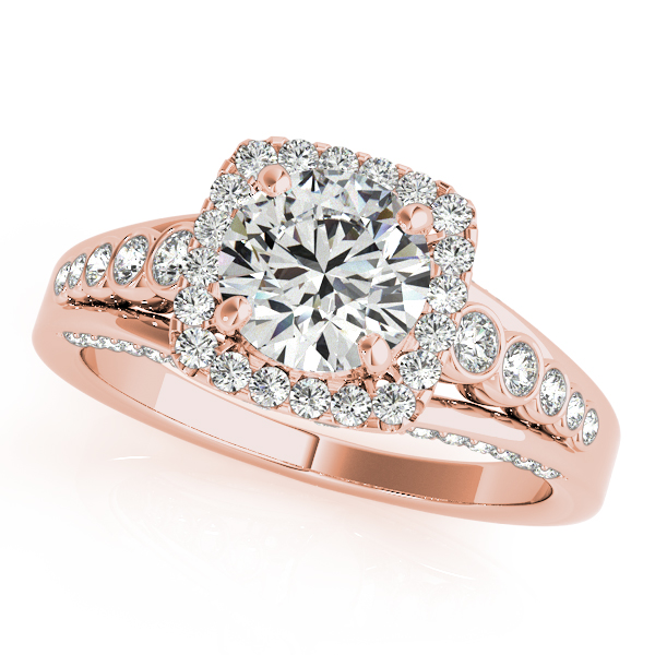 Semi-Mouts - 14K Rose Gold Round Halo Engagement Ring