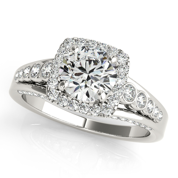 10K White Gold Round Halo Engagement Ring Robert Irwin Jewelers Memphis, TN
