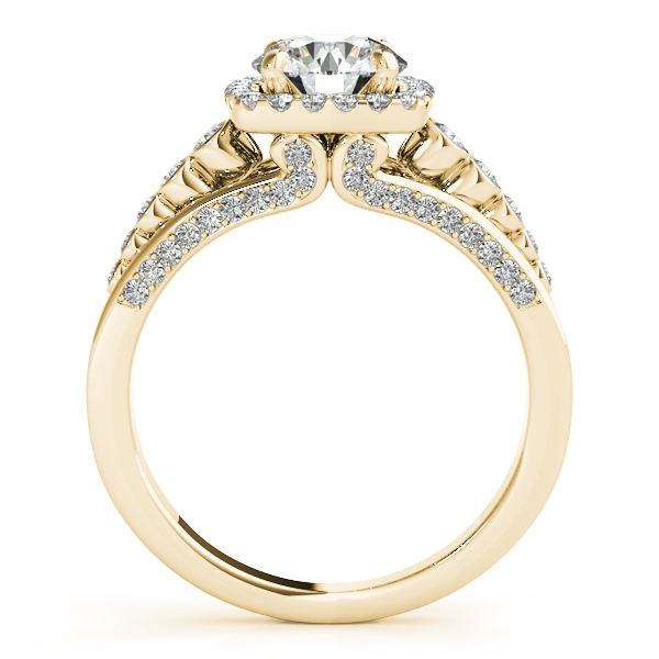 18K Yellow Gold Round Halo Engagement Ring Image 2 Elgin's Fine Jewelry Baton Rouge, LA