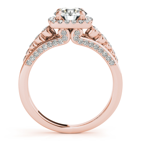 Semi-Mouts - 14K Rose Gold Round Halo Engagement Ring - image #2