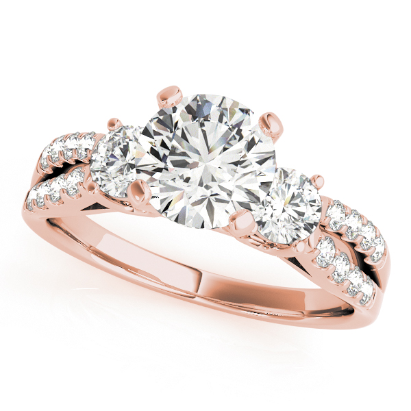Semi-Mouts - 10K Rose Gold Three-Stone Round Engagement Ring