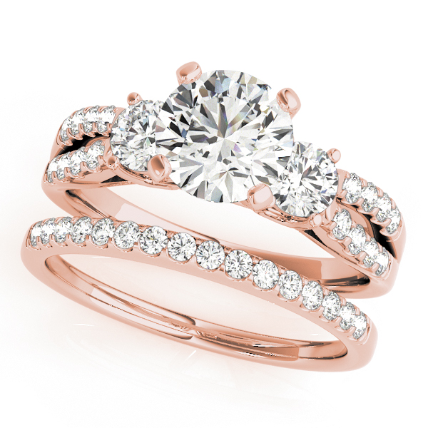 Semi-Mouts - 10K Rose Gold Three-Stone Round Engagement Ring - image #3