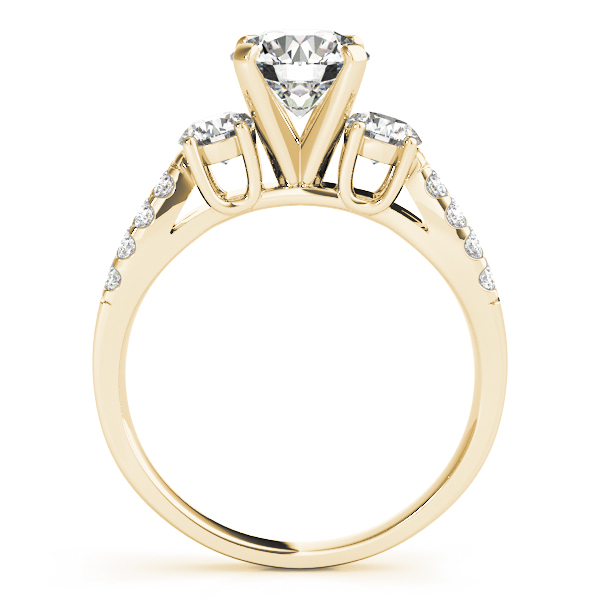 18K Yellow Gold Three-Stone Round Engagement Ring Image 2 Robert Irwin Jewelers Memphis, TN