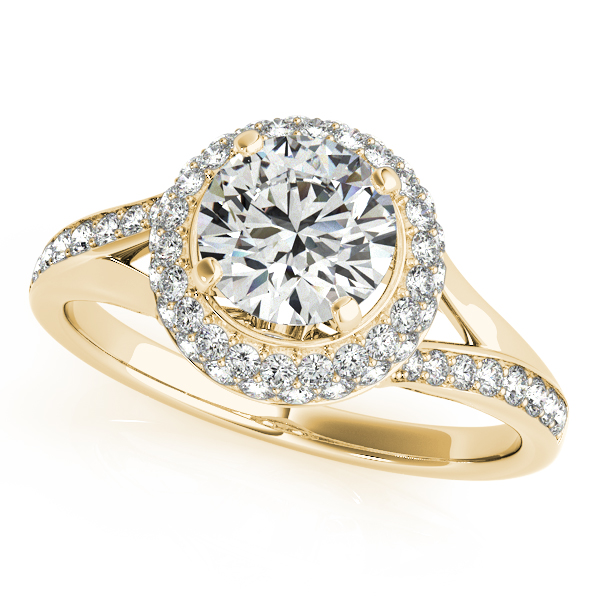 14K Yellow Gold Round Halo Engagement Ring Champaign Jewelers Champaign, IL
