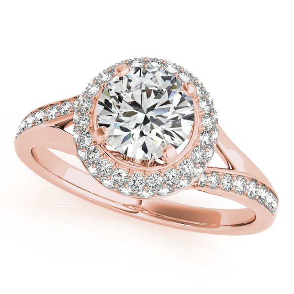 14K Rose Gold Round Halo Engagement Ring Trinity Jewelers  Pittsburgh, PA