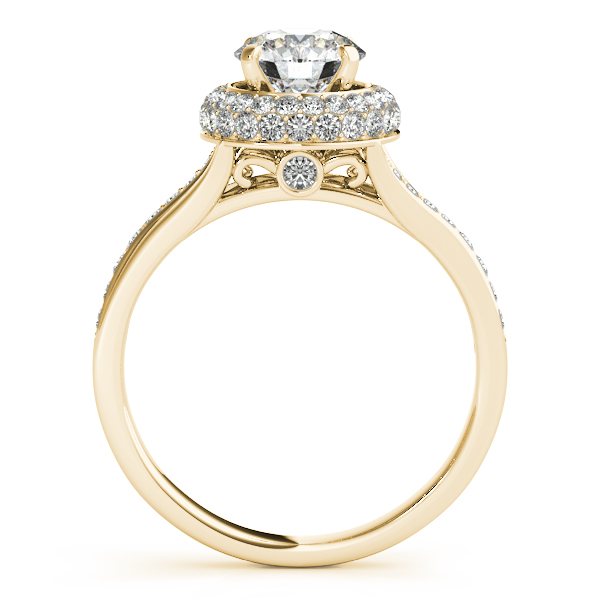 18K Yellow Gold Round Halo Engagement Ring Image 2 Shannon's Diamonds & Fine Jewelry Bristol, CT