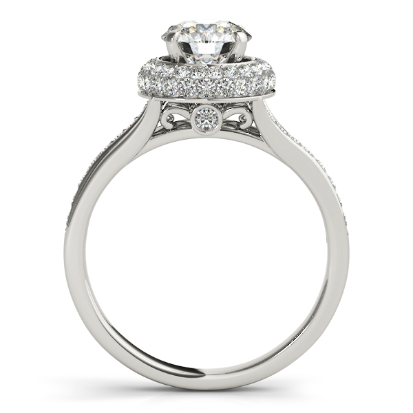 18K White Gold Round Halo Engagement Ring Image 2 Trinity Jewelers  Pittsburgh, PA