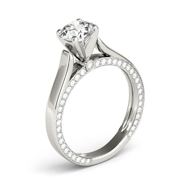 14K White Gold Engagement Ring Remount Image 3  ,