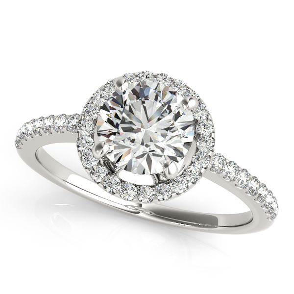10K White Gold Round Halo Engagement Ring The Ring Austin Round Rock, TX