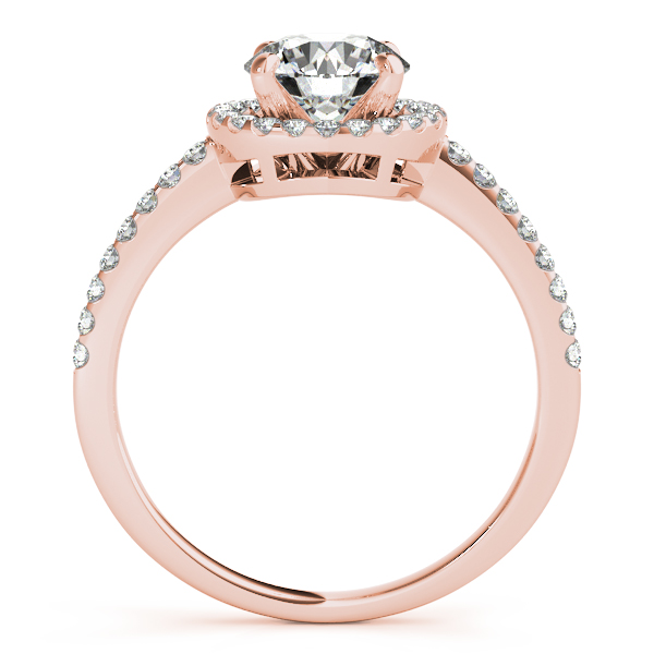 14K Rose Gold Round Halo Engagement Ring Image 2  ,