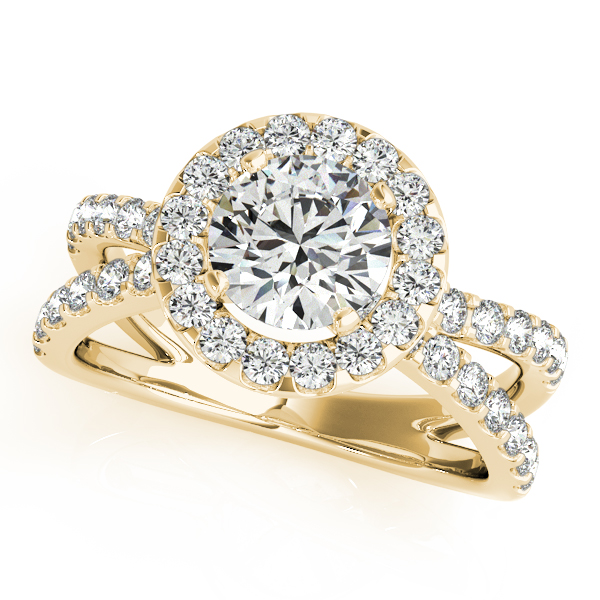 18K Yellow Gold Round Halo Engagement Ring Shannon's Diamonds & Fine Jewelry Bristol, CT