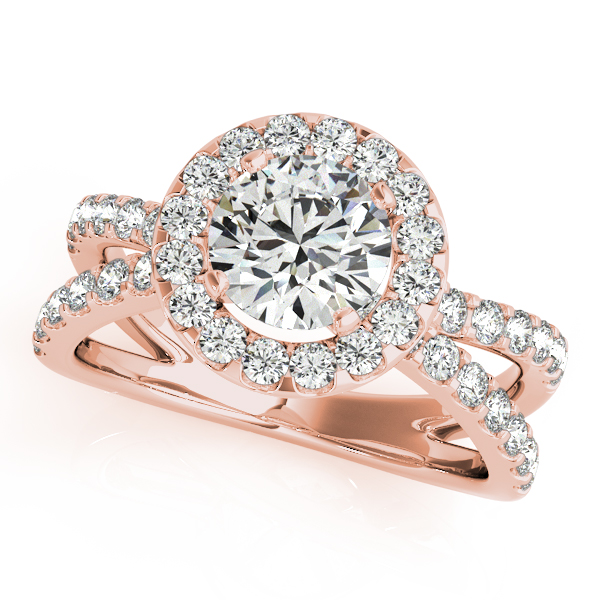 18K Rose Gold Round Halo Engagement Ring Futer Bros Jewelers York, PA