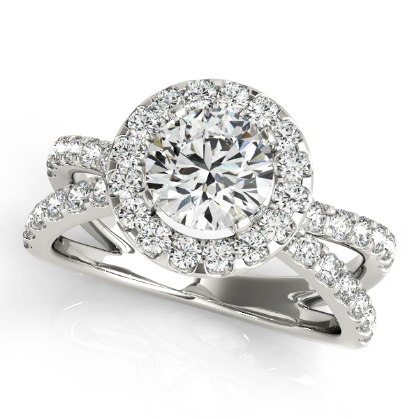 14K White Gold Round Halo Engagement Ring Couch's Jewelers Anniston, AL