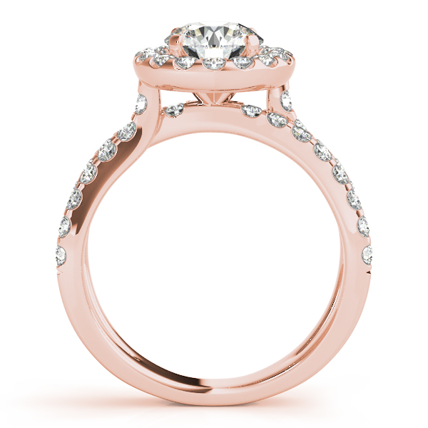 10K Rose Gold Round Halo Engagement Ring Image 2 Bay Area Diamond Company Green Bay, WI