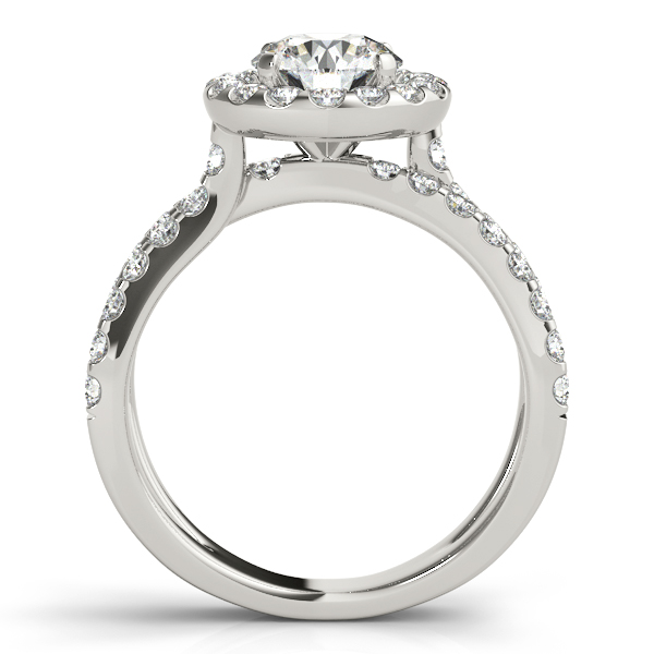18K White Gold Round Halo Engagement Ring Image 2  ,