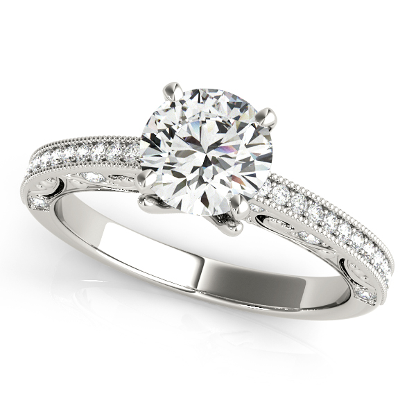 Platinum Antique Engagement Ring Rachel & Victoria Rancho Santa Fe, CA