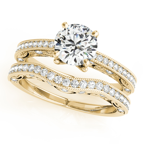 10K Yellow Gold Antique Engagement Ring Image 3  ,