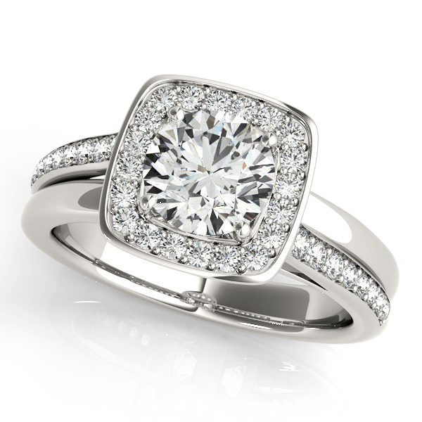 Platinum Round Halo Engagement Ring Morin Jewelers Southbridge, MA