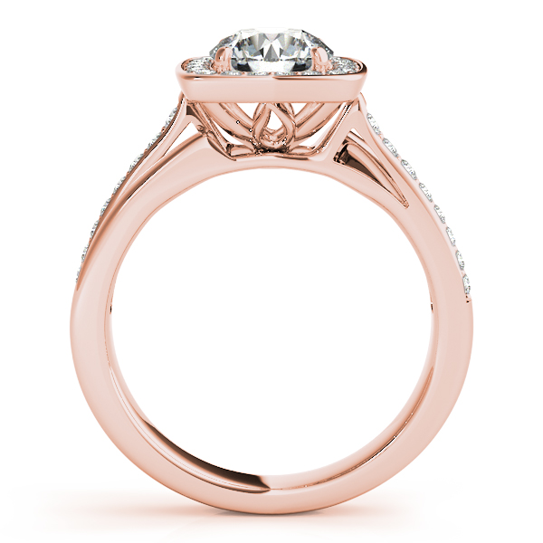 10K Rose Gold Round Halo Engagement Ring Image 2 Parris Jewelers Hattiesburg, MS